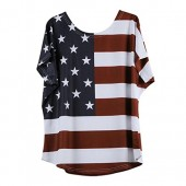 Women's Casual Distressed American Flag Short Sleeve T-Shirt Short Sleeve Blouse On Sale Tank Tops for Women Fashion 2018