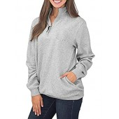 Samefar Womens Warm Cozy High Neck Long Sleeve Solid 1/4 Zip Pullover Sweatshirts with Pockets