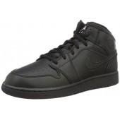 Jordan Nike Kids Air 1 Mid (GS) Black/White Basketball Shoe 6 Kids US