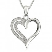 B&E 925 Sterling Silver Heart Necklace Pendant -Girlfriend Women Girl Valentines Day Jewelry-CZ Diamonds