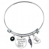 Paris Selection Dad Memorial Bangle Bracelet A Piece of My Heart Lives in Heaven, 2.5
