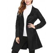 c877d531f2 SE MIU Women s Slim Fit Lapel Double-Breasted Thick Jacket Fit and Flare  Trench Coat