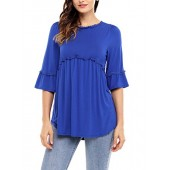 Vanbuy Women&rsquos Bell Sleeve Ruffle Hem Peplum Blouse Loose Tunic Top Shirt