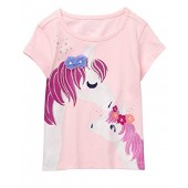 Gymboree Baby Girls Short Sleeve Glitter Animal Graphic Tee