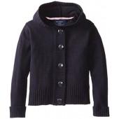 U.S. Polo Assn.  Little Girls'  Big Button Hooded Sweater