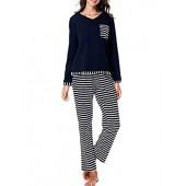 RIKILIO Women's Long Sleeve Pajama Set V-Neck Sleepwear XS-XL