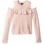 DKNY Girls' Big' Cold Shoulder Ruffle Sweater