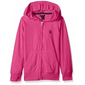 U.S. Polo Assn. Girls' Long Sleeve Zip up Jersey Hoodie, Black-3265