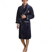 Soft Plush Bathrobe Shawl Collar Spa Kimono Long Robe Sleepwear Men women With Belt