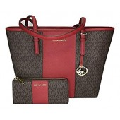 MICHAEL Michael Kors Jet Set Travel MD Carryall Tote bundled with Michael Kors Jet Set Travel LG 3/4 Zip Wallet