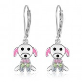 Kids Earrings - 925 Sterling Silver with a White Gold Tone Pink Enamel and Crystal Dog Leverback Earrings MADE WITH SWAROVSKI ELEMENTS Kids, Children, Girls, Baby