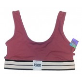 Victorias Secret Pink, Side Strappy Stripe Unlined Sports Bra, Soft Begonia, Large