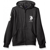 U.S. Polo Assn. Little Boys' Long Sleeve Zip up Fleece Hoodie, Dark Heather Gray, 7
