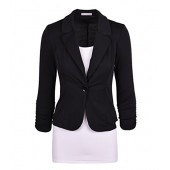 Aulin Collection Women's Casual Work Solid Color Knit Blazer
