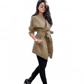 Romacci Womens Winter Lapel Long Sleeve Jacket Long Trench Coat Pocket Outwear With Belt