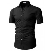 H2H Mens Slim Fit Solid Short Sleeves Dress Shirts of Various Colors