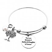 ALoveSoul Family Tree Bracelet - The Love Between A Mother and Daughter Is Forever Tree of Life Expandable Bangle Bracelet