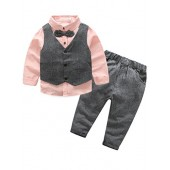 Abolai Kids Boys 3 Pieces Suit Set Leisure Sets with Shirt,Vest and Pant Clothes Sets
