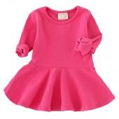 Baby Girl's Long Sleeve Pleated Infant Toddler Dresses Dress Tops Blouse