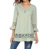 Soteer Women's Boho Lace Splice V-Neck Flare Sleeve Loose Trim Casual Tops