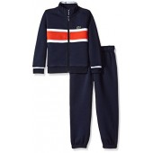 Lacoste Boys' Fleece Track Suit With Chest Stripe-Shirt