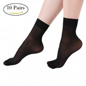 Women's Ankle High Sheer Socks 10 Pairs Fossrin Crystal Silky Sheer Socks for Women ( 5 Black, 5 Nude)