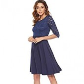 Women's Vintage Floral Sexy Floral Lace Cocktail Party Swing 3/4 Sleeves Dress