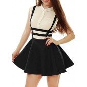 Allegra K Women's Elastic Waist Cut Out A Line Mini Suspender Skirt