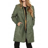 Neo-wows Classic Long Bomber Jacket Women Nylon Quilted Solid