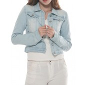 PERHAPS U Women's Short Cropped Denim Jacket Button Front Long Sleeves Jean Jackets for Women