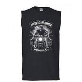 Original American Rider Muscle Shirt Skull Face Route 66 Biker MC Sleeveless