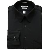 Van Heusen Men's Poplin Regular Fit Solid Point Collar Dress Shirt, Black, 18.5