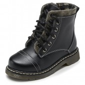 Fashiontown Kids Patent Leather Combat Boots Snow Waterproof Round Toe Military Zipper Lace Up Ankle Riding Shoes