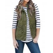 Minma Women's Sleeveless Lightweight One-Shoulder Brace Button Vest Jacket With Zipper & Button & Drawstring & Pockets
