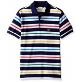 Lacoste Boys' Short Sleeve Multi Color Stripe Polo Shirt