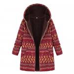 Limsea Women Coats Coat Zipper Plus Size Hooded Long Sleeve Vintage Fleece Thick