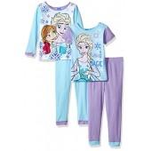 Disney Girls' Frozen Fair Isle Sisters Four-Piece Pajama Set