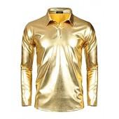 COOFANDY Men's Disco Shirt Long Sleeve Shiny Metallic Gold Silver Nightclub Style Party Polo Shirt