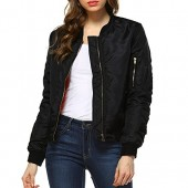 Fashionazzle Women's Solid Classic Zip Up Quilted Short Bomber Jacket Padded Coat