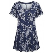 Ouncuty Womens Summer Loose Floral Printed Tunic Tops Round Neck Casual Shirts