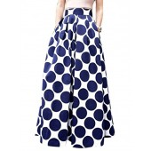 Choies Women's White Contrast Polka Dot Print Maxi Skirt