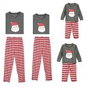 Christmas Family Matching Pajamas Set Men Women Boy Girl Kids Santa Long Sleeve Blouse +Striped Pants Holiday Pajama PJ Sets
