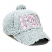 e1dc2e8310534 USA Cute Fur PomPom Hat Adjustable Baseball Cap