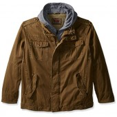 Levi's Men's Big and Tall Washed Cotton Four-Pocket Hooded Trucker Jacket