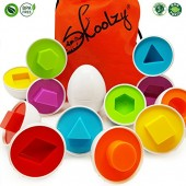 Skoolzy Learning Colors & Shapes Matching Egg Toys - Toddler Games for 1, 2, 3 year olds - Montessori Fine Motor Skills Sorting Preschool Educational Toys. Easter Eggs with Tote