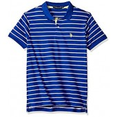 U.S. Polo Assn. Men's Short Sleeve Slim Fit Striped Jersey Polo Shirt