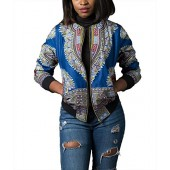 Remelon Womens African Print Classic Zipper Biker Bomber Jacket Short Coat
