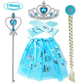 Tacobear Princess Dress up accessories 5 Pieces Gift Set Dress Tiara Crown Wig Wand Gloves Blue
