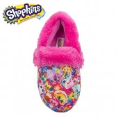 Shopkins Toddler Girls Closed Back Round Toe Cushioned Slippers with Plush Collar (See More Sizes)
