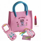 Playkidz My First Purse  Pretend Play Kid Purse Set for Girls with Handbag, Flip Phone, Light Up Remote with Keys, Play Lipstick & Kids Credit Card  Great Educational Toy for Fun & Learning